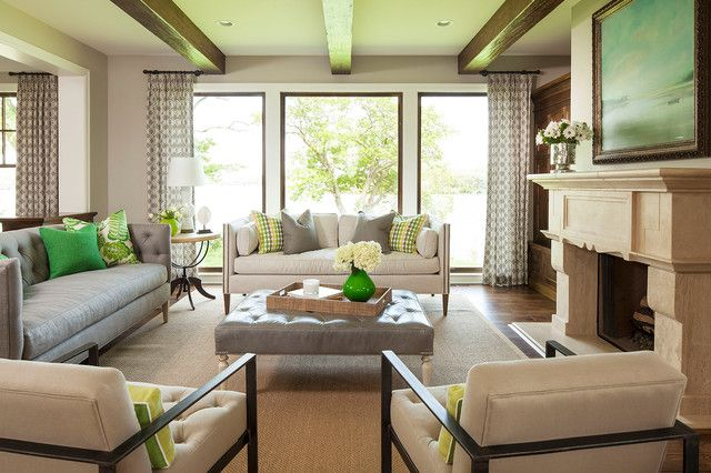 Cream Sofa Living Room Designs Mesmerizing Sallyl Gray And Cream Sofas With Bottle Green Pillows Tufted Design Ideas