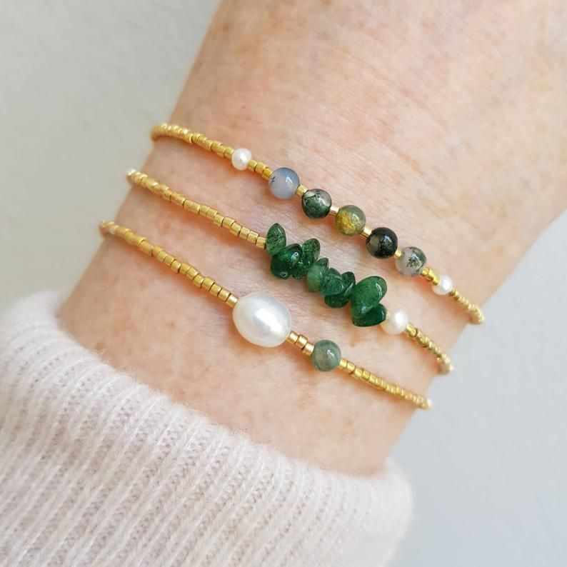 Dainty Green Moss Agate Gemstone Crystal Bracelet, 18k Gold-Filled Clasp, Pearl & Tiny Gold Seed Bead Bracelet for Women, Gift for Her