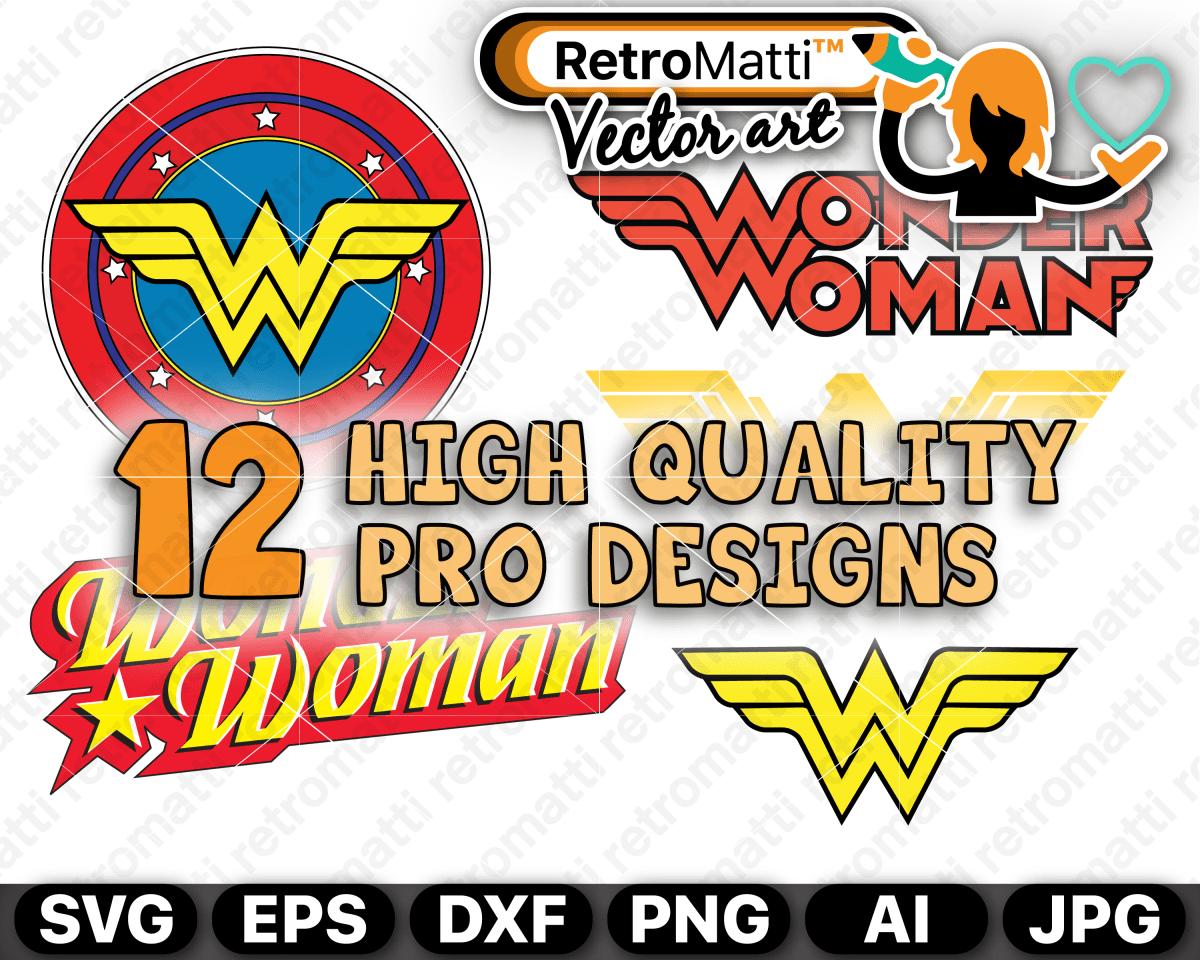 Wonder Woman 12 Logos SVG Retro logos, Vector artwork