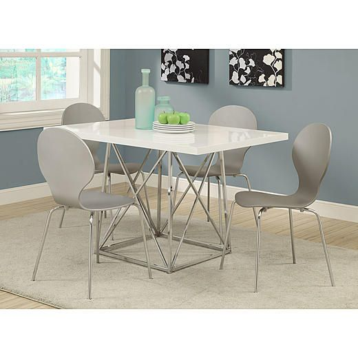 """Monarch Specialties Dining Table  36""""x 48""""  White Glossy Stunning 36 Dining Room Table Design Decoration"""
