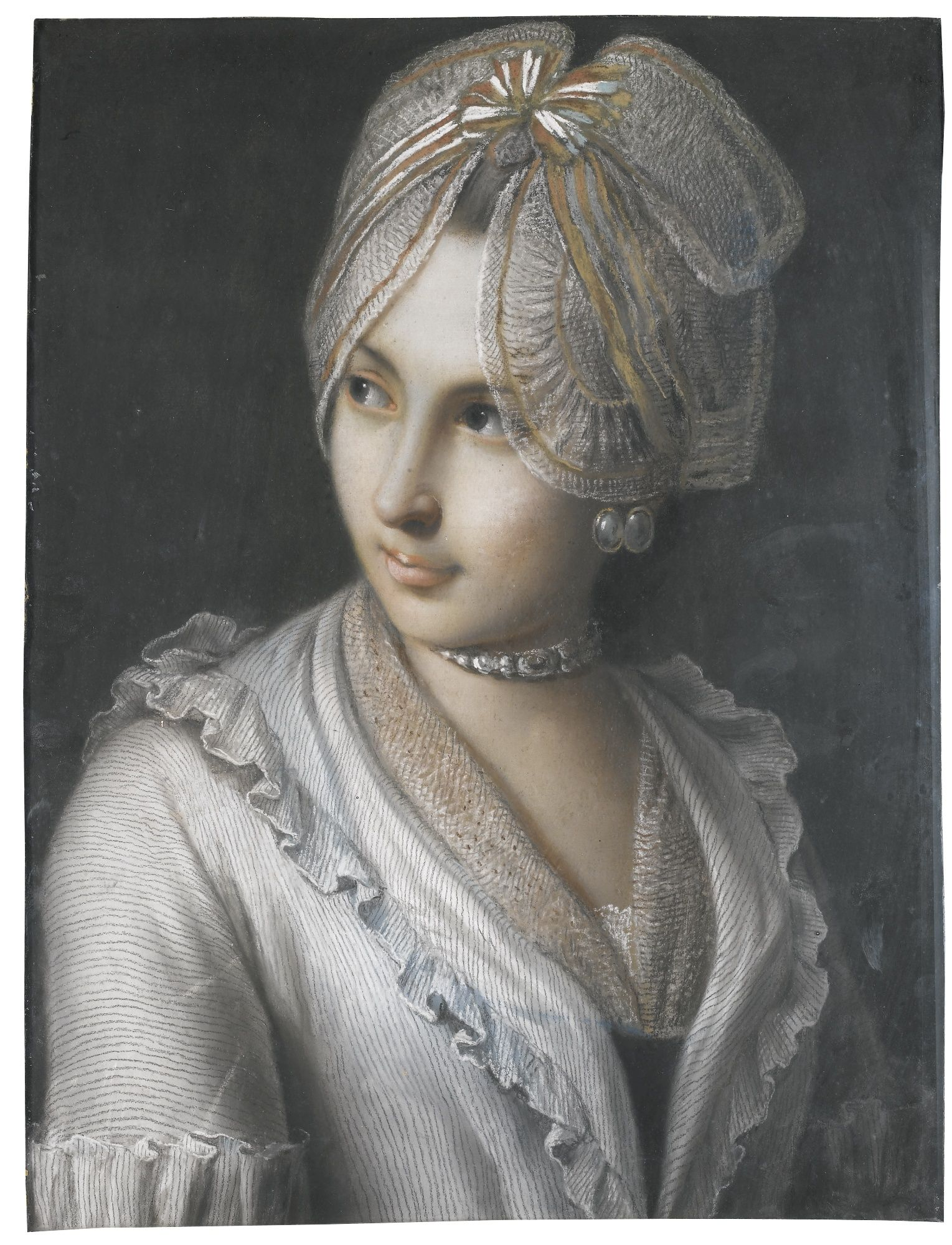 Pietro Antonio Rotari VERONA 1707 - 1762 ST PETERSBURG PORTRAIT OF A YOUNG LADY WITH A LACE CAP AND JEWELLED CHOKER