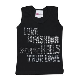 Girl's Black Glitzy Love Is Fashion Tank Top - Girl's Hip. Stylish and Trendy Rhinestone Tank Top
