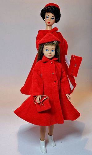 Barbie and Skipper red velvet coats...one of my first red loves!