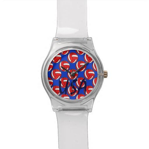 Volleyball USA Red White and Blue Wristwatches $57.95 Red and white volleyball against a dark blue background with white stars. Similar to the US Flag, these patriotic colors represent America, our country, USA.