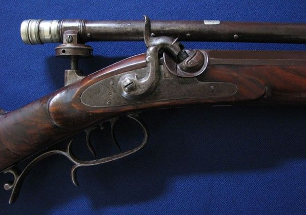 Whitworth Rifle With A Wm Malcolm Scope Detail Of