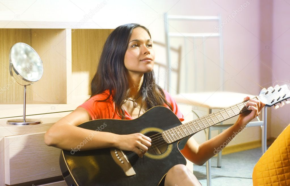 Beautiful Young Lady Room Guitar RoyaltyFree Images