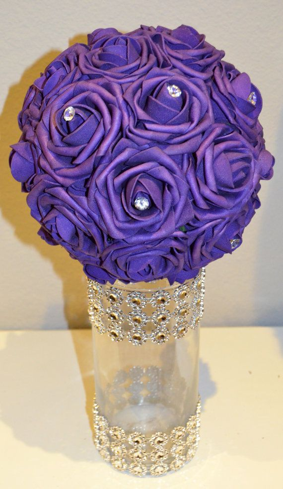 PURPLE Bling foam flower ball WEDDING CENTERPIECE by KimeeKouture ...
