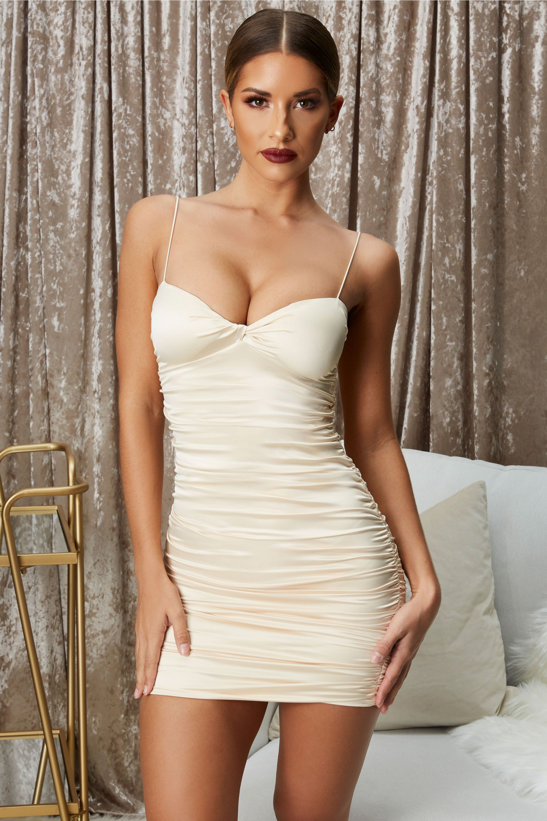 52788bf74d Twist   Shout Ruched Satin Mini Dress in Champagne in 2019