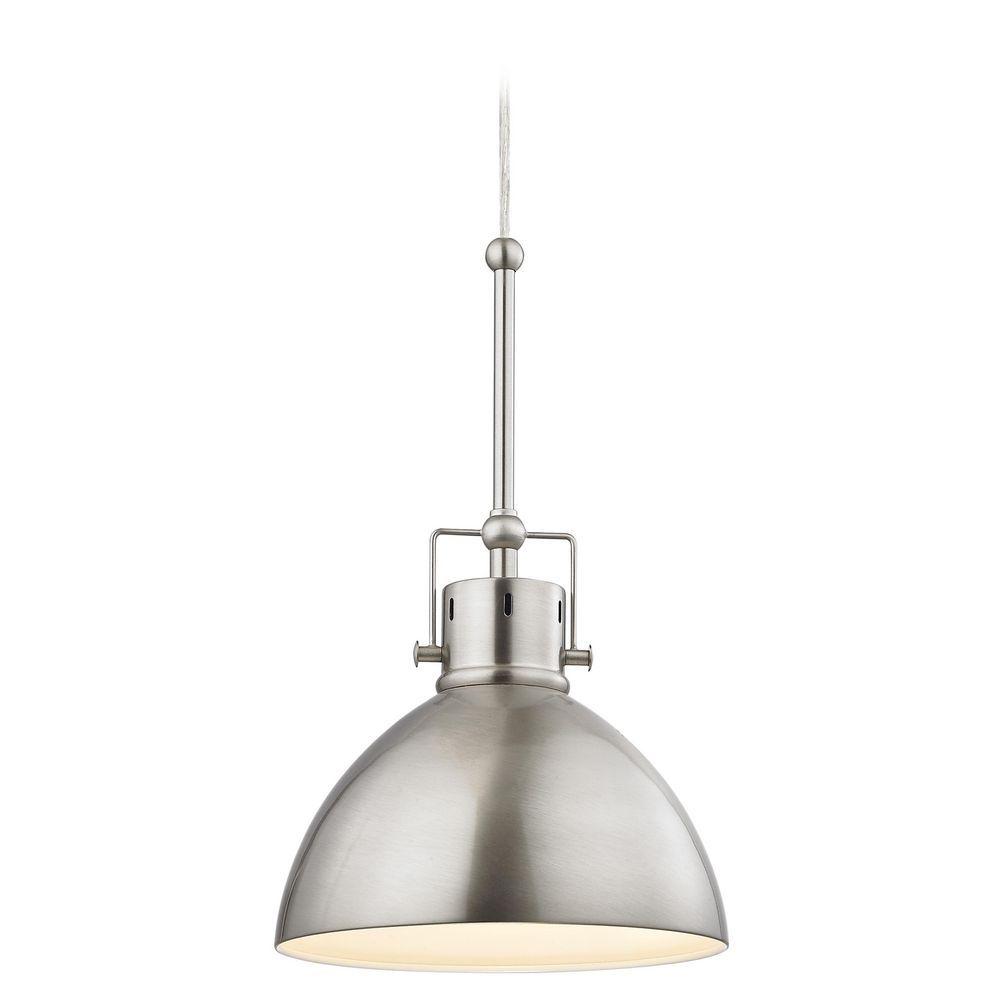 Satin nickel dome metal pendant light aloadofball Gallery