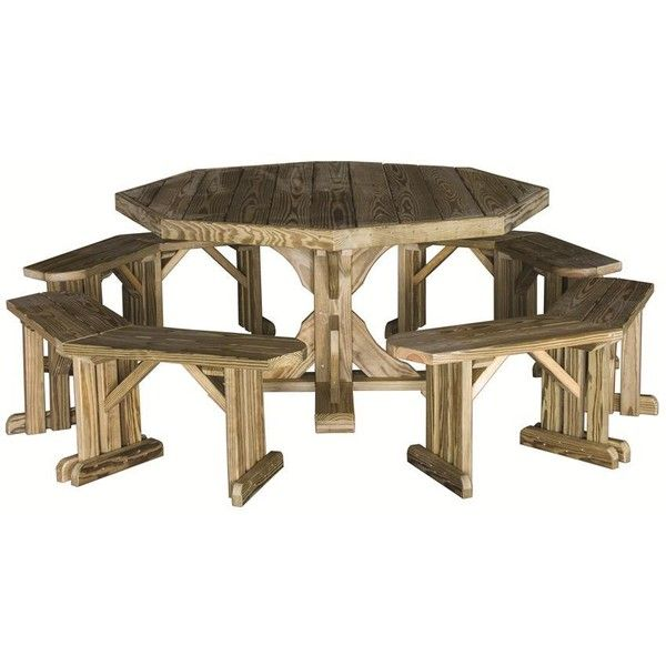Amish Pine Octagon Patio Table With Benches 872 Liked On Polyvore Featuring Home