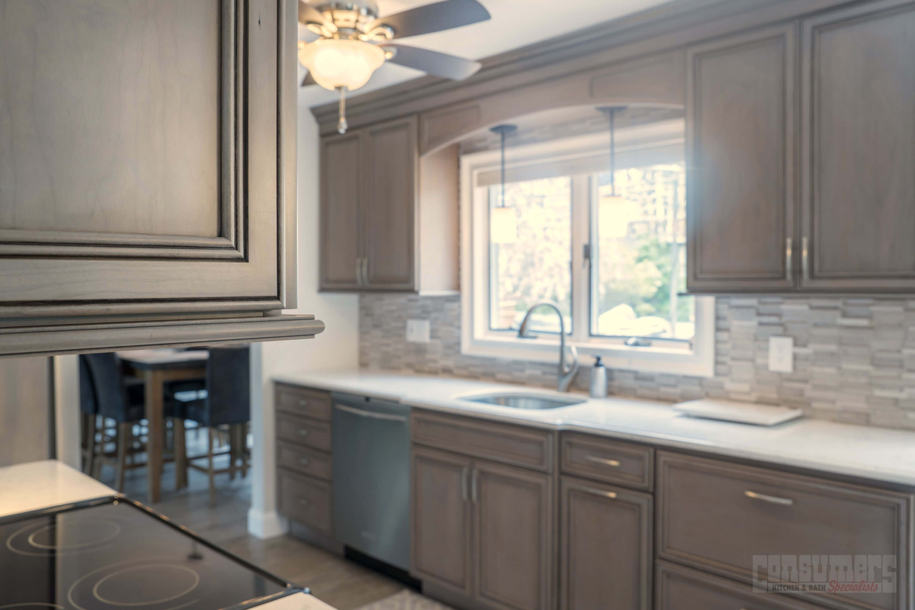 This Cherry Kitchen Was Designed With Starmark Cabinets In The Brisbane  Door Style. Featuring Driftwood Stain And Java Stain Finishes, The Cambria  Torquay ...