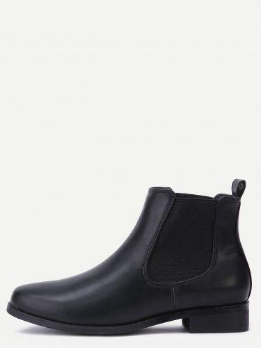 Black PU Round Toe Elastic Ankle Boots
