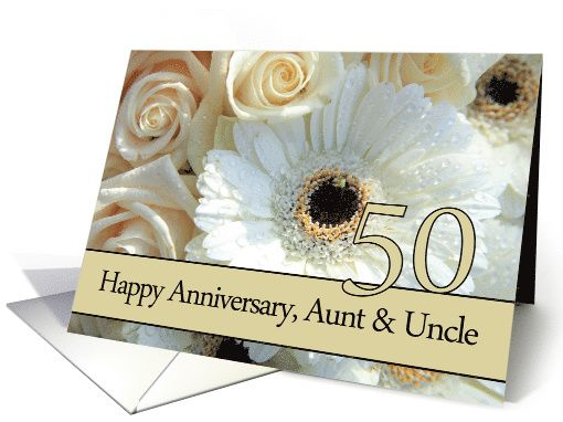 Th anniversary card to aunt uncle pale pink roses card