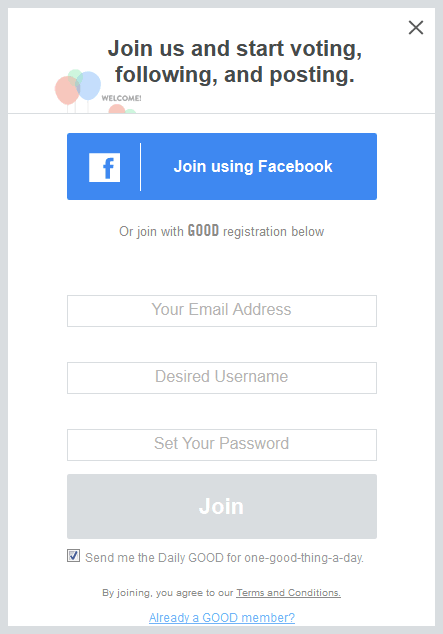 neat option to sign up with 3rd party