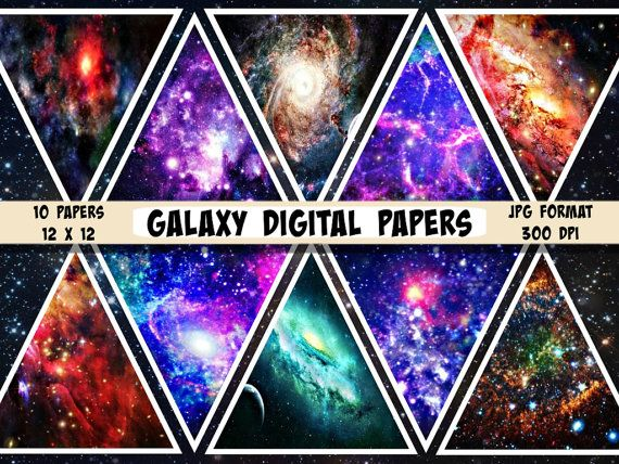 Galaxy Digital Paper Galaxy Scrapbook Paper Space Paper By Ttlgc