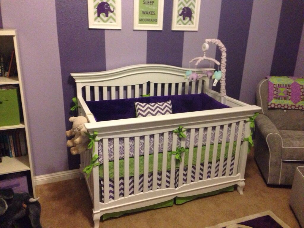 Beautiful Purple And Green Nursery I Love The Striped Walls Www Erbeansboutique Etsy