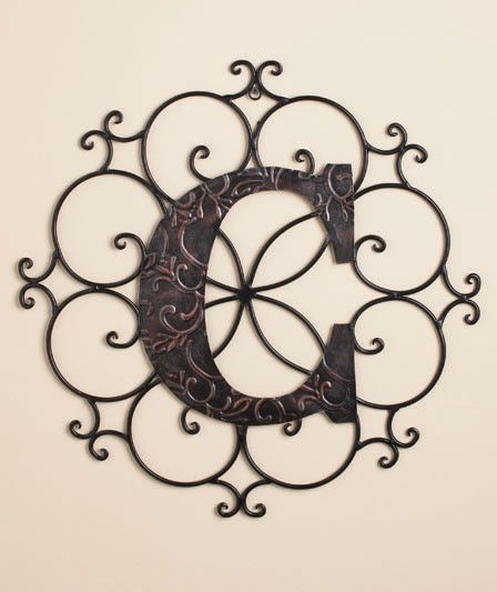 Monogram Wall Hanging Metal Monogram Wall Hanging Scrolled Metal Embossed Classic Bronze Look
