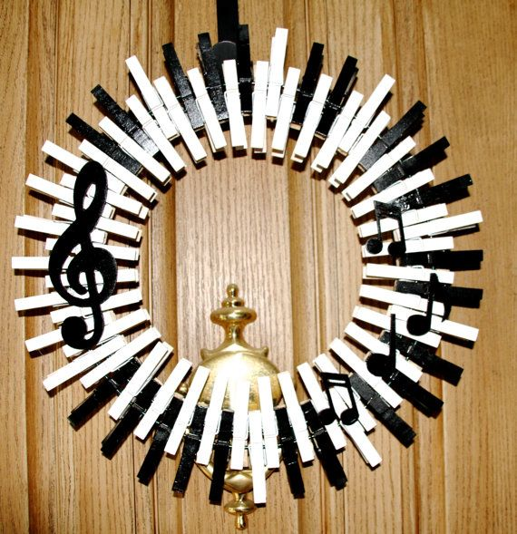 Music Wreath, Piano Keys Wreath, Musical Notes, Treble