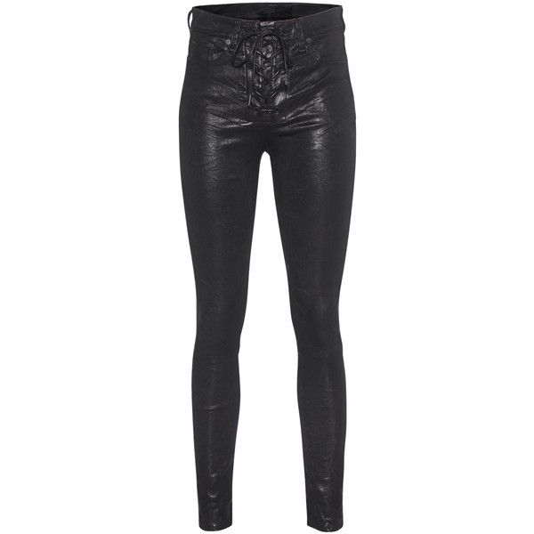 RAG&BONE High Rise Lace Up Washed Black // Structured leather pants (€949) ❤ liked on Polyvore featuring pants, jeans, jeans/pants, leather pants, slim fit trousers, real leather pants, high waisted trousers and slim pants