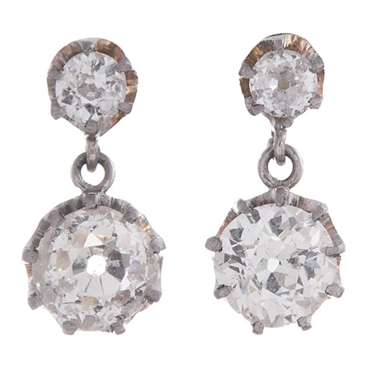 Double Old European Cut Diamond Drop Earrings | From a unique collection of vintage drop earrings at https://www.1stdibs.com/jewelry/earrings/drop-earrings/