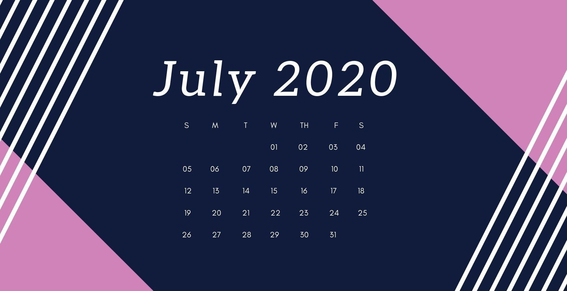 July 2020 Desktop Calendar Wallpaper in 2020 Calendar