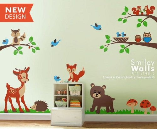 Forest Woodland Animals Wall Decal Nursery Kids Baby Room Animal