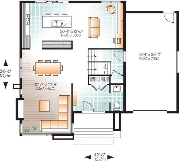 Plano planta baja casa moderna de dos plantas y tres for Casas modernas planta baja