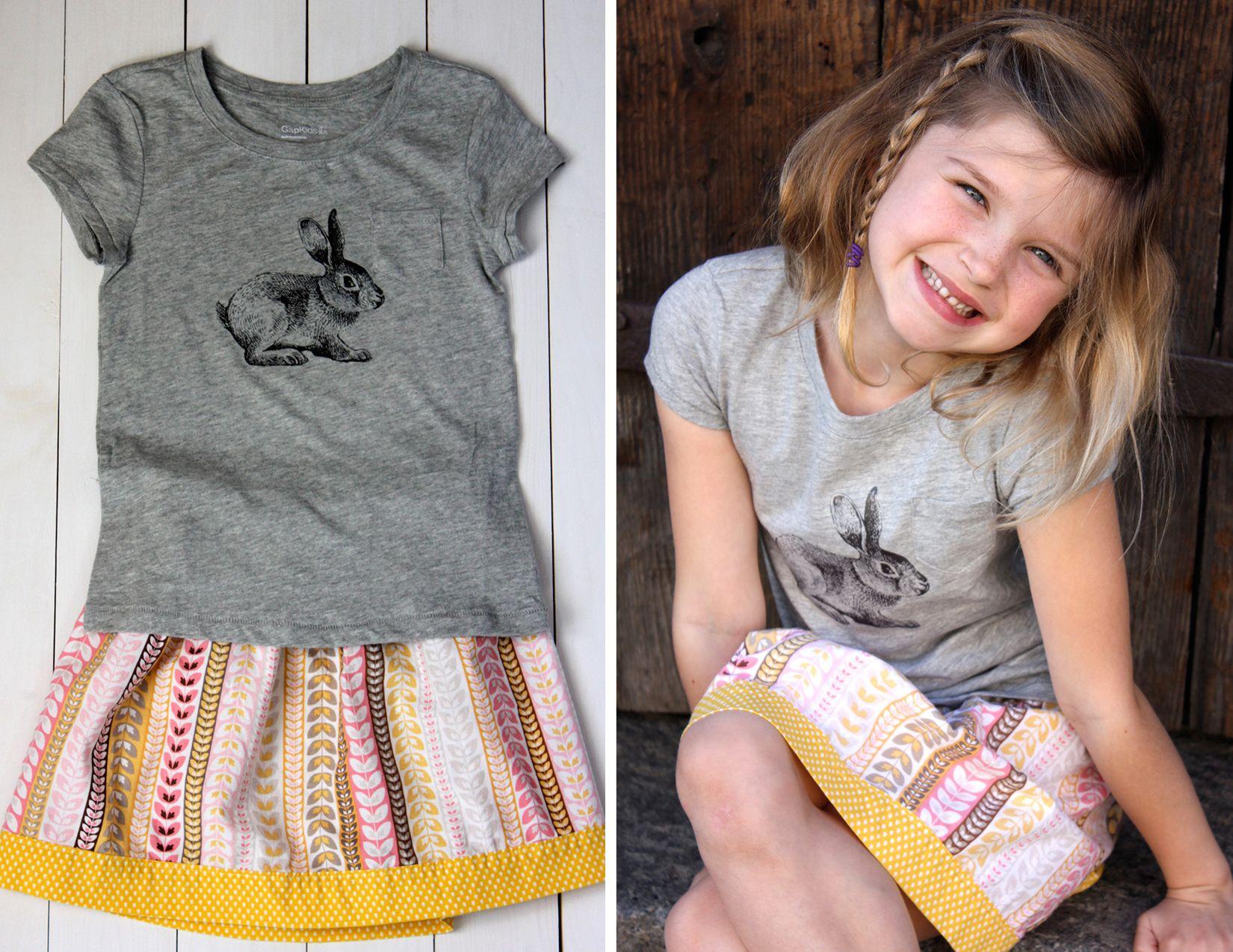 Free printable for a DIY bunny iron-on t-shirt! diy-bunny-shirt Iron-on transfer on aliceandlois.com