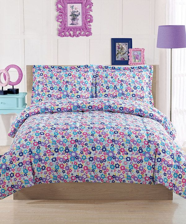 Look at this Bright Floral Comforter Set on zulily today