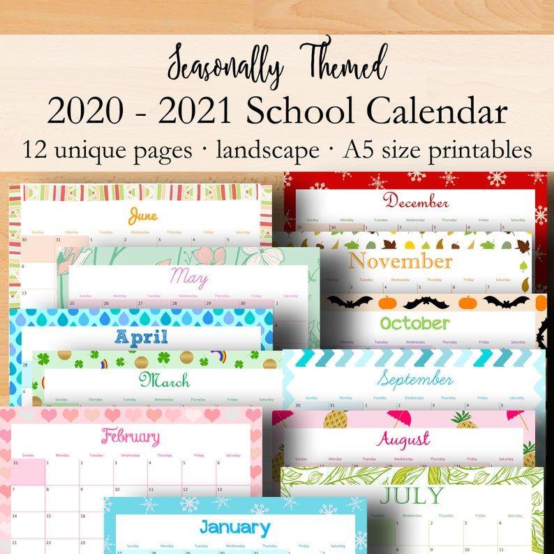 2020 2021 Calendar Monthly Planner Inserts Calendar 2020 2021 Printable Academic Calendar Printable Planner Pages A5 Instant Download In 2020 School Calendar Academic Calendar Planner Pages