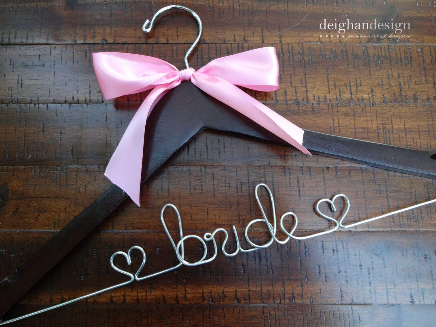 Sale wedding dress hanger with satin bow bride by deighandesign