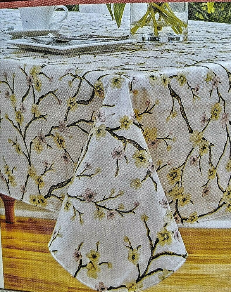 Cherry Blossom Vinyl Tablecloth 60 X 102 Floral Flannel Backing Elrene Traditional Tablecloth Cherryblossom Vinyl Tablecloth Blue Pumpkins Christmas Vinyl
