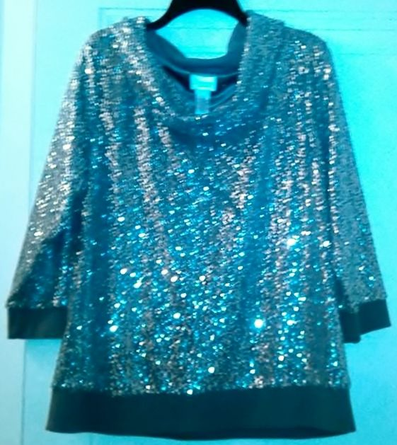 SYNERGY BY CHICO'S WOMEN'S SILVER SPARKLY TOP..SIZE 3..(LARGE-16)