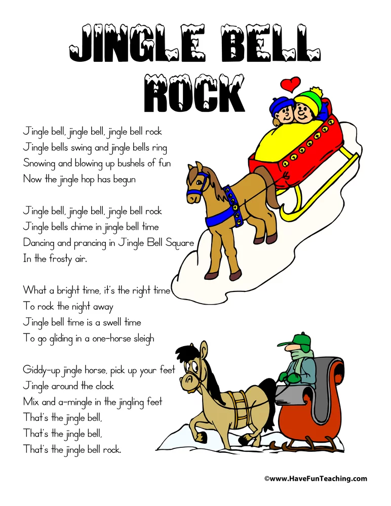 Jingle Bell Rock Lyrics In 2020 With Images Jingle Bells Kids Poems Christmas Worksheets