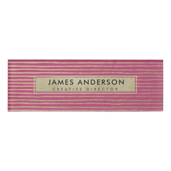 Artistic Silver Pink Sketch Striped Line Pattern Name Tag Zazzle Com Line Patterns Pattern Names Name Tags