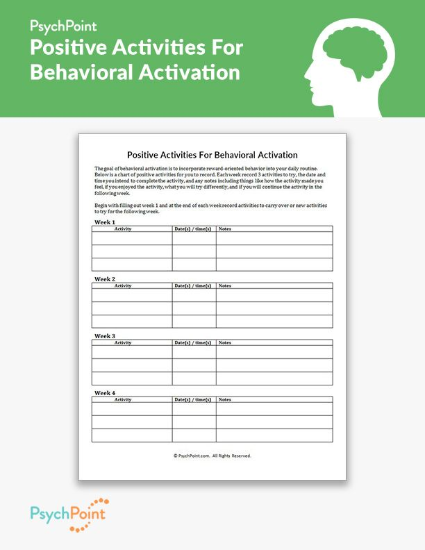 Positive Activities For Behavioral Activation Worksheet