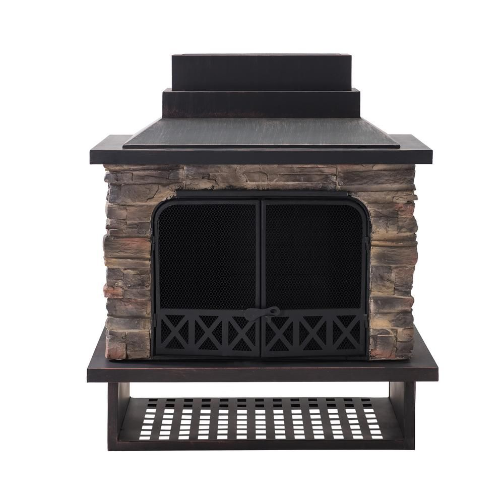 Sunjoy Heirloom 56 In Steel And Slate Outdoor Fire Place 110504011 The Home Depot In 2020 Outdoor Wood Burning Fireplace Wood Burning Fireplace Outdoor Wood