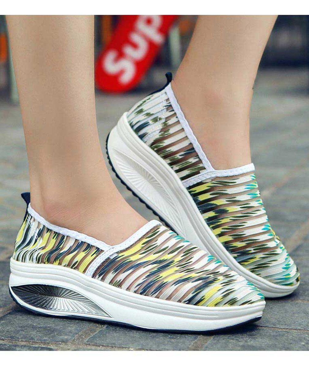Women S Green Leather Slip On Rocker Sole Shoe Sneakers Pattern Stripe Design Rocker Bottom Shoes Sneakers Shape Up Shoes