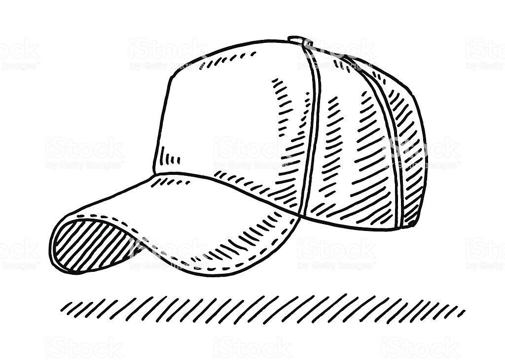 Hand Drawn Vector Drawing Of A Baseball Cap Black And White Sketch Cap Drawing Baseball Cap Drawing Hat Illustration