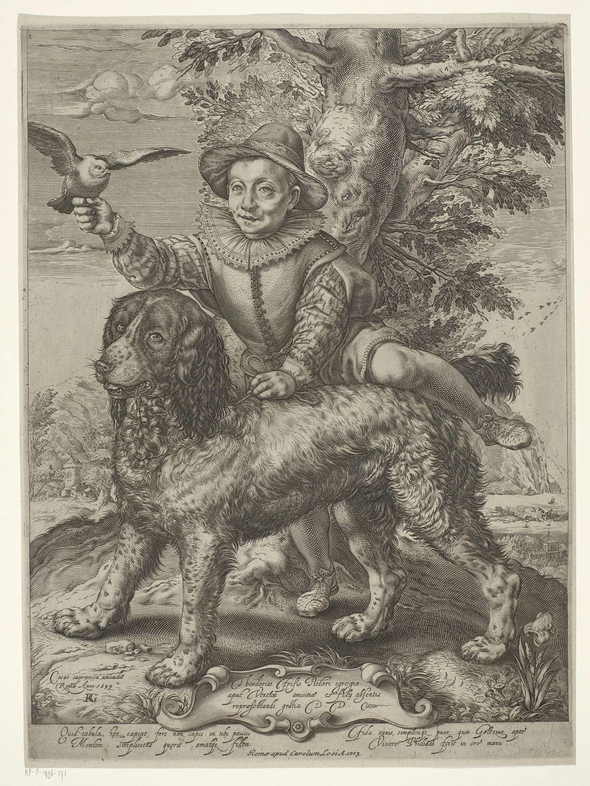 Raffaello Guidi | Portret van Frederik de Vries, Raffaello Guidi, Carole Losi, Cesar Capranica, 1723 | Frederik de Vries (gest. 1613) was door zijn vader, de schilder Dirck de Vries, aan de zorg van Goltzius toevertrouwd. Goltzius maakte een portret van de jongen samen met een hond, en stuurde dit naar Frederiks vader, die in Venetië verbleef. De jachthond, die vaak door Goltzius is getekend, was zijn eigen huisdier.