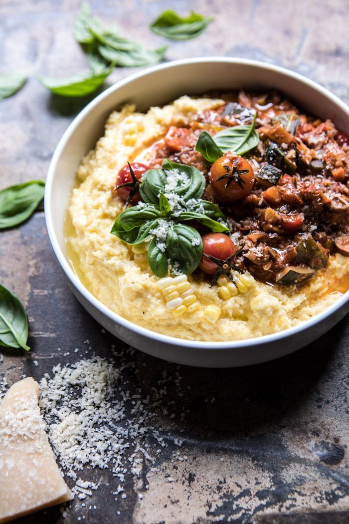 Late Summer Vegetable Bolognese With Creamy Polenta Recipe Vegetable Bolognese Food Polenta