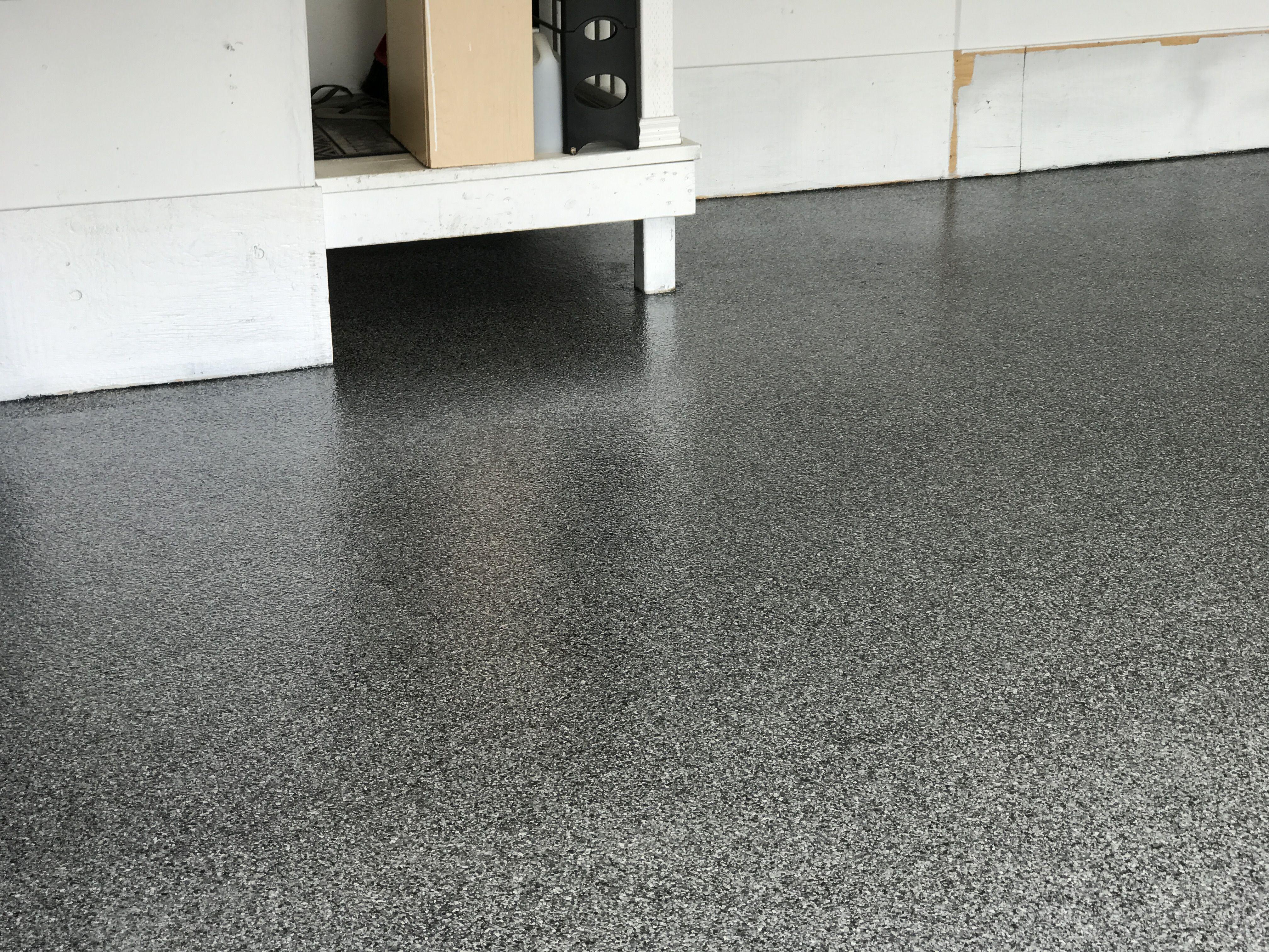 Epoxy Garage Floor Black Basecoat With Nightfall Flakes Completed In Oakville Ont Garage Floor Epoxy Garage Floor Paint Garage Floor