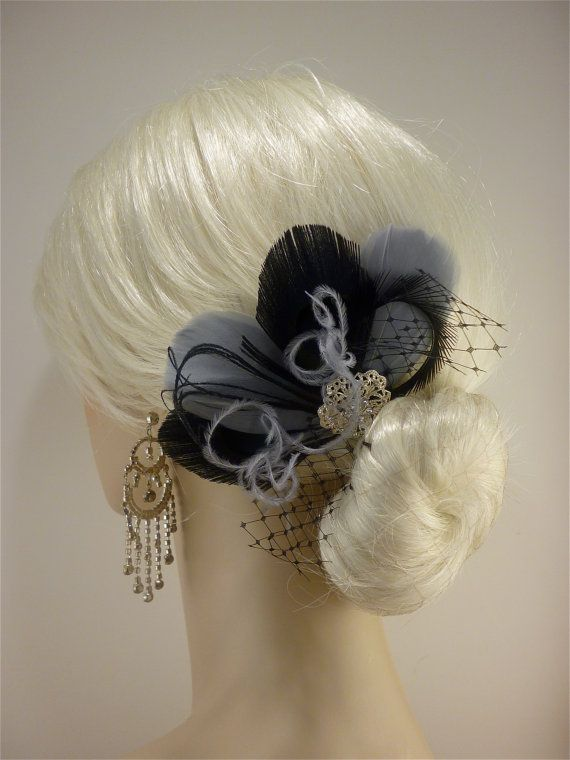 Bridesmaid Hair Accessories Set of 4 Bridesmaids Feather Fascinators ... 146a554df9c