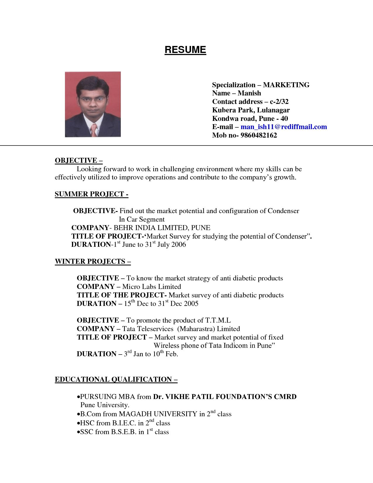 Examples Of Resumes Sample Resume For College Student