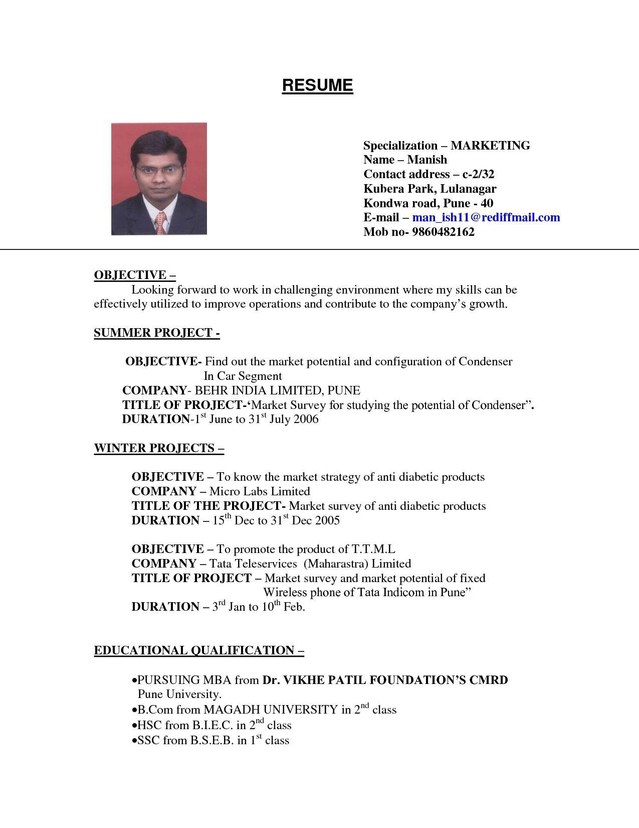 Resume For Job Format