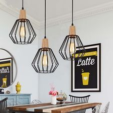 Wood Pendant Light Modern Ceiling Lights Black Lamp Kitchen