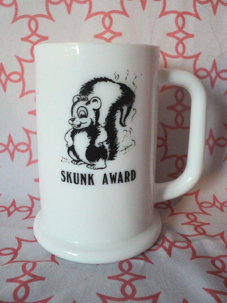 Milk Glass Beer Mug Stein Tankard Very Unique SKUNK AWARD D Handle Humorous  | eBay