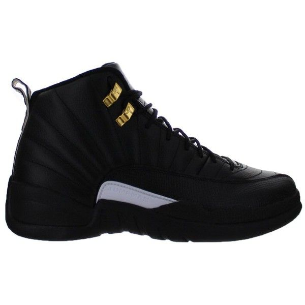 293dcdbcf77e4b Nike Mens Air Jordan 12 Retro Black White-Metallic Gold Leather ( 344) ❤  liked on Polyvore featuring men s fashion