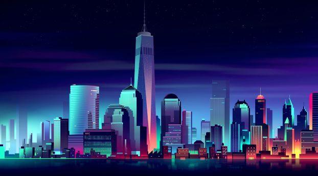 Nyc Minimalist Building Illustration City Buildings City Wallpaper