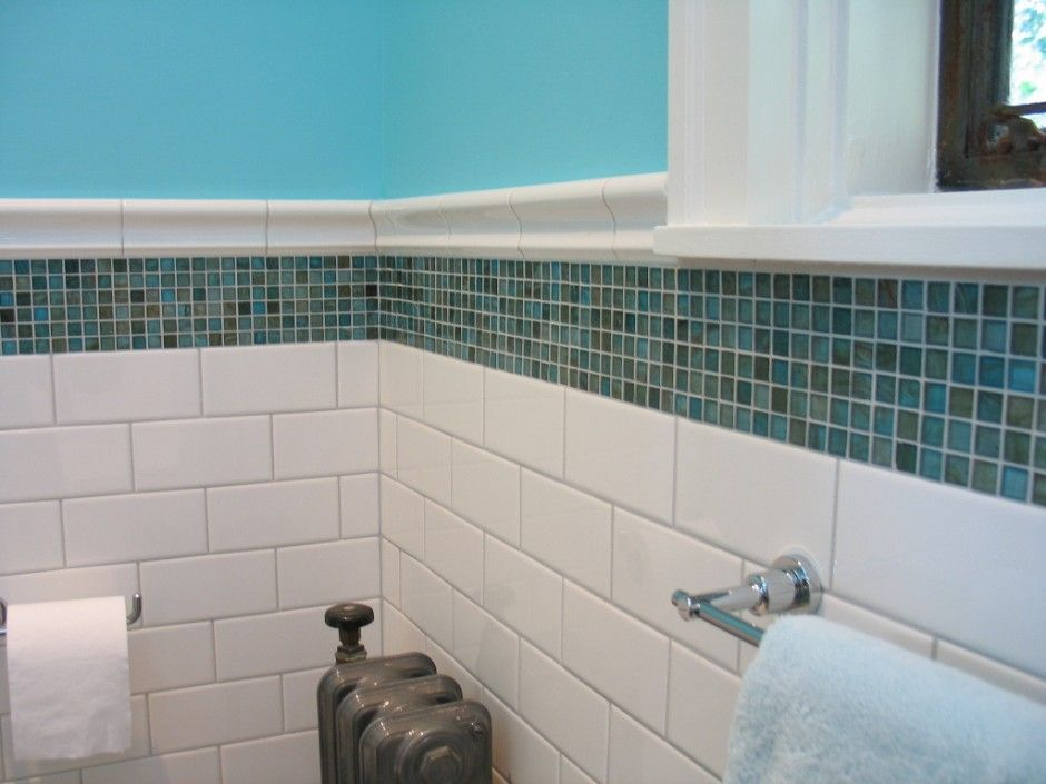 Easy Blue And White Bathroom Decorating Feature White Subway Tiles Bathroom Tiling And Ocean Blue Mo Mosaic Shower Tile Shower Accent Tile Accent Tile Bathroom